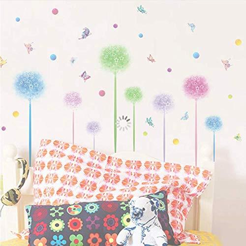 GHUJFDB Farbige Blumenwandaufkleber Wohnzimmer Schlafzimmer Tv Hintergrund Dekorative Malerei Grüne Aufkleber Dekoration Schmetterling 142 * 95 cm 142 Tv