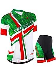 NUCKILY Mujer Verde ciclo Jersey corto ajuste perfecto Sportwear, verde