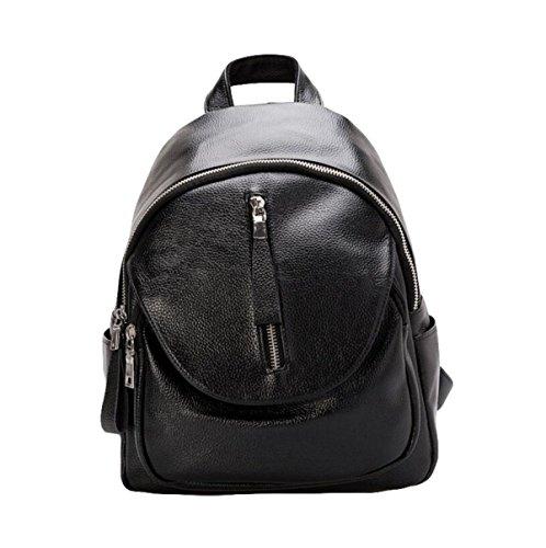 Mode Weichen Leder Damen Tasche Schultertasche Freizeit College Gewaschen Leder Rucksack Einfach Black