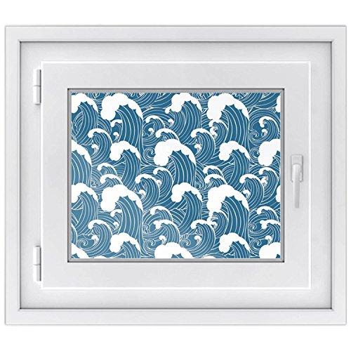 fototapete dachfenster Fensterfolie | Hochwertiges Fenster-Bild - selbsthaftende Klebefolie für Fenster in Küche, Bad und Wohnzimmer | Dekorative Sichtschutzfolie für Fenster | Fensterfolie 50 x 40 cm - Design Große Welle