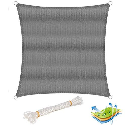 EUGAD Sonnensegel Quadratisch Sonnenschutz Tarp Schattenspender Garten UV-Schutz Atmungsaktiv HDPE Grau 2x2m