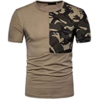ZIYOU Herren T shirts Tee Camouflage Patchwork Kurzarm/Männer Casual O Hals Pullover Tops Sport Fitness Streetwear Bluse