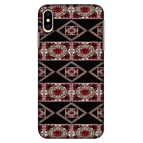 hutzhülle für Apple iPhone XS Max (besonders dünn, mit Stickerei, dekoratives Muster) Rot/Schwarz ()