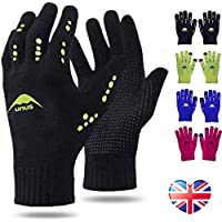Winter Gloves Kids Running Cycling Warm Touchscreen Value Pair, Knitted Glove Thermal Non-Slip for Driving Ridding Sport Football Outdoor Color Black Blue Green Pink Age 5-12