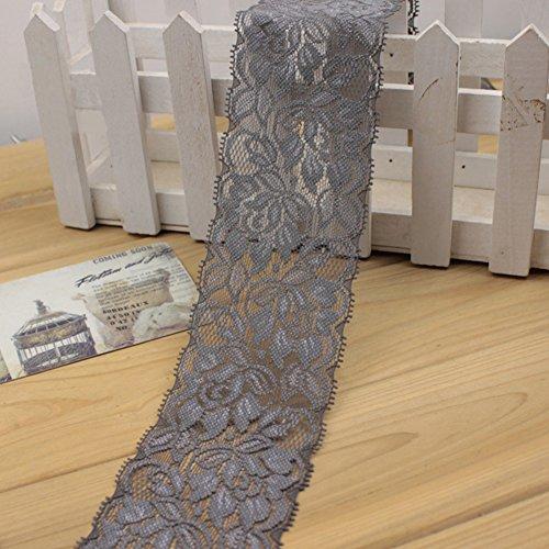 6,5cm Spitzenband, Floral Lace Trim, elastische Spitze für Basteln, Dekorieren, Hair schleifenbinden und Geschenkverpackungen (100cm) Free Size grau -