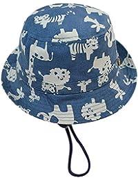 EOZY Casquette de Soleil Coton Fille/Enfant Bleu Chapeau pour Pêche/Plage Outdoor