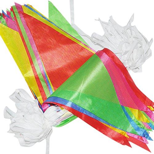 38 M Fahnen Girlande Wimpel mit 100 Stück Farbenfroh Wimpeln ideal für Geburtstagsparty; Feiern (1 PCS) (Wimpel Fahnen)