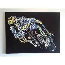 Valentino Rossi marco moderno efecto pintado a Panel de madera MDF, pop art, madera MDF acrílico madera, FORMATO 45 X 37.5 CM