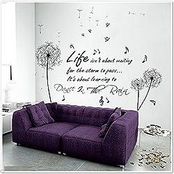 Walplus 170x150 cm Wall Stickers Dandelion Dance In Rain Butterflies Removable Self-Adhesive Mural Art Decals Vinyl Home Decoration DIY Living Bedroom Office Décor Wallpaper Kids Room Gift, Multi-colour