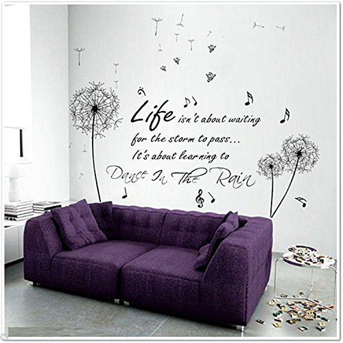 Walplus - adesivo grande da parete con dente di leone, farfalle e scritta dance in the rain