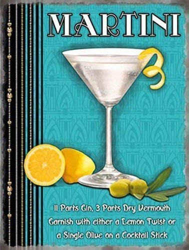 ept. Zitrone, limetten, gin, oilve. Nicht a wodka, james bond einem Klassisch cocktail gedränk Metall/Stahl Wandschild - 9 x 6,5 cm (Magnet) ()