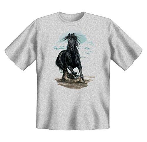 Pferde-Shirt/T-Shirt mit schönem Tier-Aufdruck: On the Beach - schönes Horse-Motiv Grau