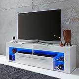trendteam Wohnzimmer Lowboard Fernsehschrank Fernsehtisch Score Wohnen, 153 x 44 x 44 cm in Weiß Hochglanz  inklusive LED Beleuchtung in Blau - 2