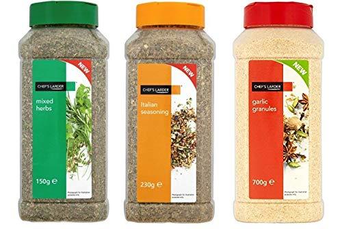 Chef's Larder Seasoning Mixed Herbs Garlic Granules Italian Seasoning