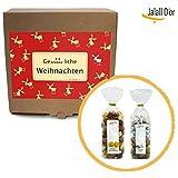 Geschenkbox GENÜSSLICHE WEIHNACHTEN von Jalall D'or | Frohe Weihnacht & Glücks-Gold (2 weihnachtliche Trockenfrucht-Nussmischungen) | WEIHNACHTSGESCHENK für Männer & Frauen, Kunden & Mitarbeiter