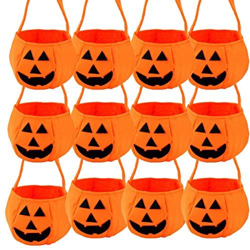 Kostüm Kleine Mädchen Tote - Halloween Kürbis Tasche Kinder Mini Süßigkeiten Tote Kinder Geschenke Süßigkeiten Taschen Handtaschen für Kinder oder Kostüm Party Pack von 12