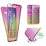 Handytasche für Samsung Galaxy S7 Edge, CESTOR [Ultra-Weiche Clear Silikon] Dual-Layer 360 Grad Luxus Durchsichtig TPU Gradient Farbe Kratzfest Schutzhülle für Samsung S7 Edge, Rosa+Gelb