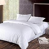 Hotel Stripe 5 Pcs Comforter Set By Valentini, King Size, White, Microfiber