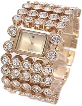XLORDX Luxus Damen Frauen Kristall Strassuhr Edelstahl Quartz Analog Armbanduhr Gold Uhren