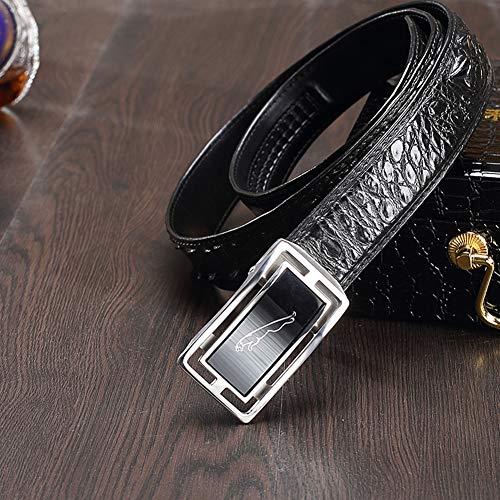 VIWIV Krokodile Ledergürtel Anzug Hosen Mode Business Casual Herrengürtel,Black,100cm