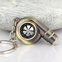 Creative funda Spinning Turbo turbina del turbocompresor llavero clave cadena anillo llavero llavero Titular de la clave Make real silbato sonido (bronce)