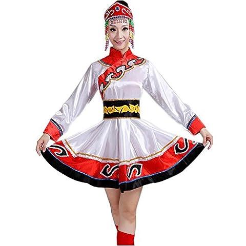 Wgwioo tibetische roben mongolische kostüme klassische tanz lange kleider erwachsene eröffnung big rock druck stickerei sequins diamond modern chor nation bühne aufführungen gruppe team outfit , picture color , (Groß Nation-kostüm Für Erwachsene)