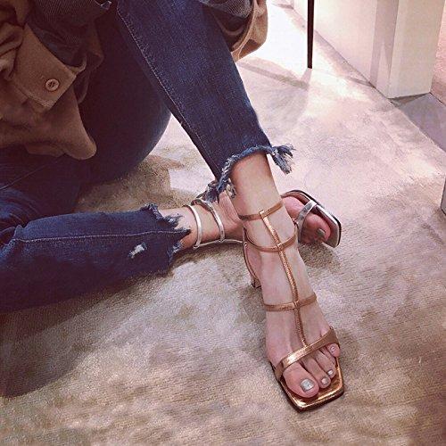 donna tacco da quadrata unita fibbia sandali Tinta Hollow scarpe tacchi Latini Shoeshaoge testa grosso scarpe pqUYFP