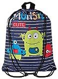 Aminata Kids - Kinder-Turnbeutel für Junge-n und Mädchen mit Dino-saurier Comic Monster Sport-Tasche-n Gym-Bag Sport-Beutel-Tasche dunkel-blau hell-grün