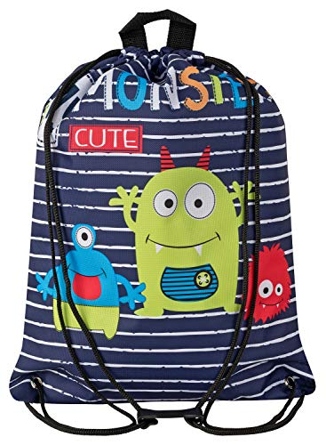 Aminata Kids - Kinder-Turnbeutel für Junge-n und Mädchen mit Dino-saurier Comic Monster Sport-Tasche-n Gym-Bag Sport-Beutel-Tasche dunkel-blau hell-grün…