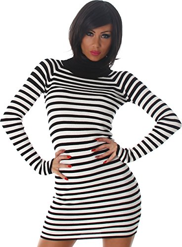 Jela London Femmes Mini Robe Rib robe de cocktail roulé Stripes Parti Minidress Mini manches longues Noir et blanc