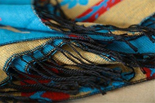 Ponche Femme Manteau à Capuchon Echarpes en Laine Mélangée Epais Chaude Taille Unique Très Chic Mailanda bleu-2
