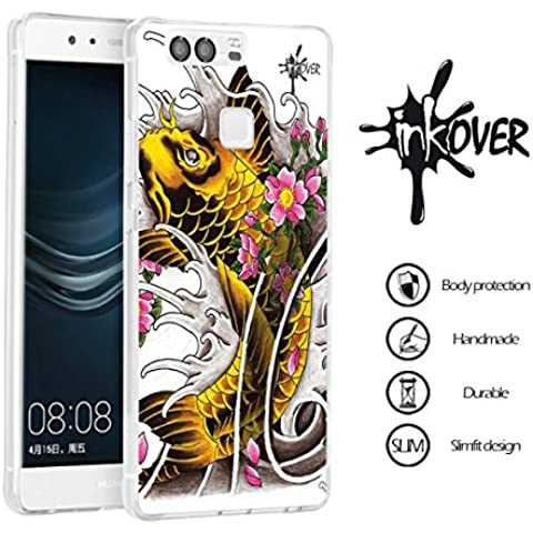 Custodia Cover Protettiva Guscio Soft Case Bumper Trasparente Sottile Slim Fit Tpu Gel Morbida INKOVER Design Tattoo Tatuaggio Carpa Giapponese Japan Koi per HUAWEI P9 PLUS - Spider Tattoo