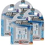 Ansmann Piles Réchargeables NiMH AAA/HR03 (Micro) Pré-Chargées maxE Type AAA 800mAh 16 Piles
