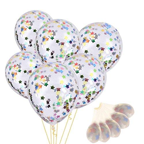 (Kicode Mehrfarbig Klar 6 Stück Latex Konfetti gefüllter Ballon Farbige Sterne Hochzeit Geburtstagsfeier Halloween Weihnachten)