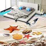 Mbwlkj Meer Strand Möwe Muschel 3D, Malerei Selbstklebende Wohnzimmer Badezimmer Schlafzimmer Bodenbeläge Tapeten Wandbild-200Cmx140Cm