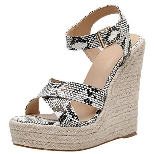 LuckyGirls Chic Sandalias Mujer Plataforma Cuña Verano 2020 Serpentino Zapatos Mujer Tacon Altas Elegantes...