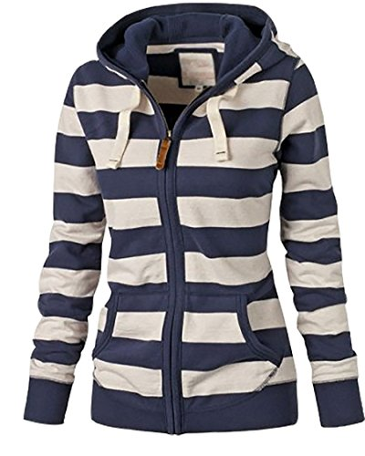 Frauen Herbst Langärmelige Pullover Kapuze Langarm Gestreiften Tasche Sweatshirts (S, Blau) (Seide Strickjacke Size Plus)