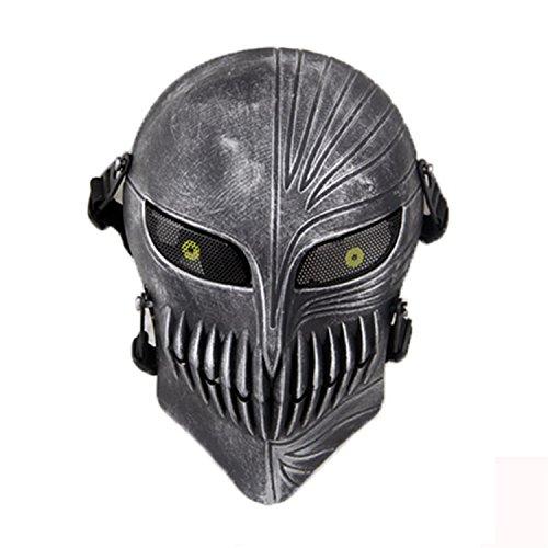 kopf Full Face Schutz Masken für Airsoft Paintball Outdoor CS Krieg Spiel BB Gun Cool Scary Ghost Halloween Party Maske, silber, schwarz ()