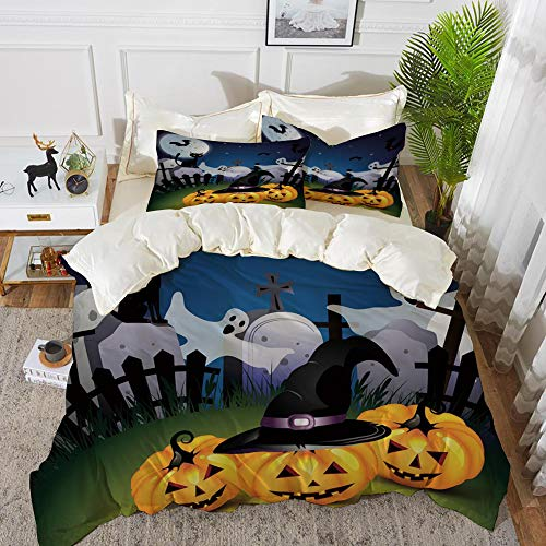t, Mikrofaser, Halloween, lustige Cartoon Design Kürbisse Hexen Hut Geister Friedhof Vollmond Katze dekorativ, Mehrfarbig,1 Bettbezug 220 x 240cm + 2 Kopfkissenbezug 80x80cm ()