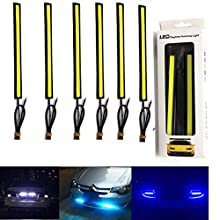 Superbright 6 Piece Updated Support to Waterproof Aluminum High Power 20 W 6000 K Xenon Slim Cob Led Drl Daylight Driving Daytime Running Light DRL for all Vehicles with 12 V (2, White, 2 pcs. Blue Set of 2, Ice Blue)