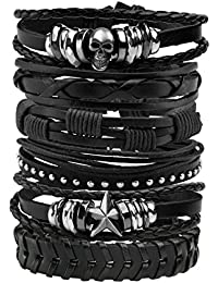 MILAKOO Men Leather Bracelet Punk Braided Rope Alloy Bracelet Bangle Wristband