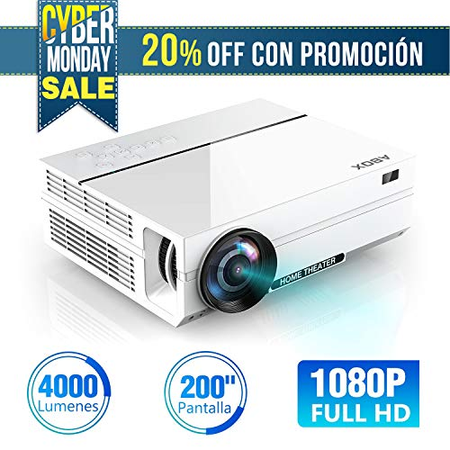 ABOX A6 4000 Lúmenes Proyector, LED Proyector de Cine en casa, 1920*1080P Full HD, Contraste 4000: 1, con Audio Hi-Fi, Soporte Fire TV Stick/Xbox/PS4/PC/Mac/iphone/Android con Multiples interfaces