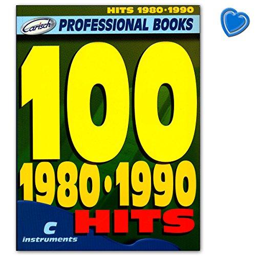 100Hits 1980–1990para c Melodía Instrumento: Guitarra, Piano, Keyboard–Songbook con Bunter herzförmiger–Partituras Verlag Carisch ml2763–9788850712557