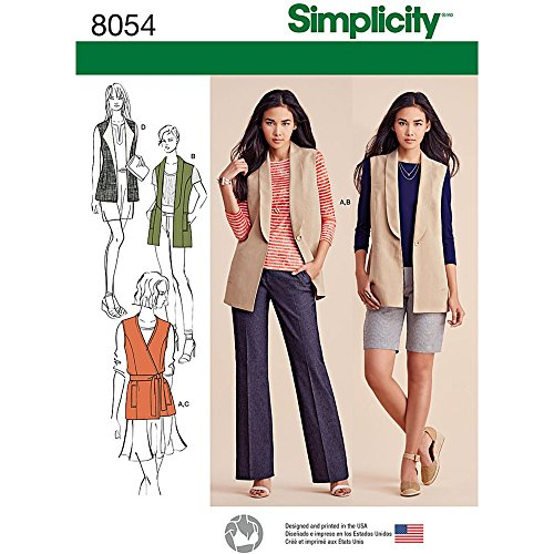 Simplicity 8054K5gefütterte Damen-Westen und Strick Top Schnittmuster, Papier -
