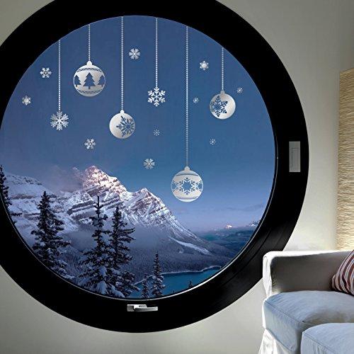 Decowall DWG-702S 4 Weihnachtskugeln und Schneeflocken Grafik Wandtattoo Wandsticker Wandaufkleber Wanddeko für Wohnzimmer Schlafzimmer Kinderzimmer (Silber)