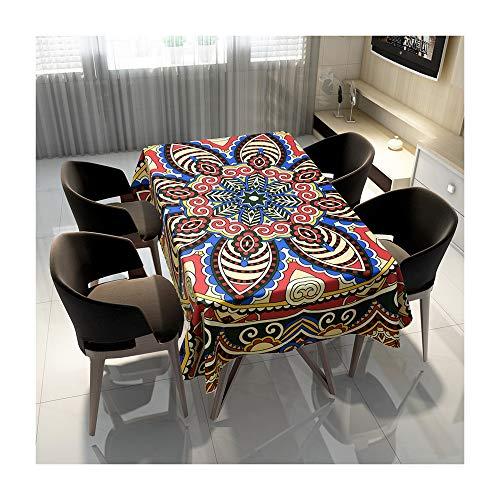 QWEASDZX Tischdecke Digitaldruck Nationaler Stil Nationaler Stil Ölbeständige und wasserdichte Tischdecke mit rechteckigem Fleckschutz Geeignet für Innen und Außen 100x140cm