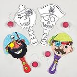 """Baker Ross Paddleballschläger """"Piraten"""" aus Holz für Kinder zum Basteln, Ausmalen und Spielen (4 Stück)"""