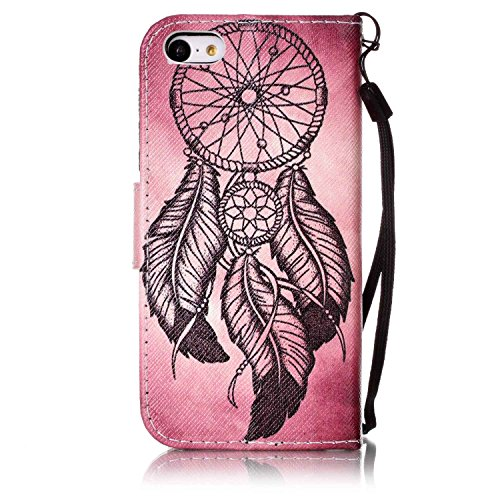 Cover iPhone 5C, ISAKEN Drawing Pattern Design Elegante borsa Custodia in Pelle PU per iPhone 5C Sintetica Rigida Case Cover Protettiva Flip Portafoglio Case Cover Protezione Caso con Supporto di Stan Dreamcatcher