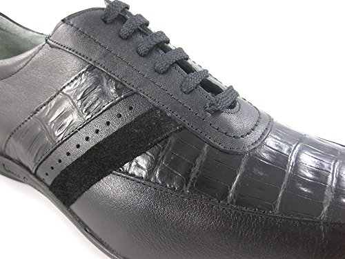 Franco Cuadra Calf and Crocodile Leather Shoes for Men Schwarz