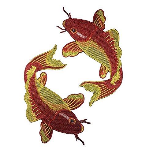 KAYI Red & Gold Snapper Handgefertigte chinesische Stickerei Tuch Zubehör DIY Stoff Stickerei Aufkleber Kit 2Stk